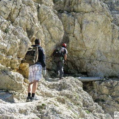 Uno dei vari tratti attrezzati presenti lungo il Sentiero dei Kaiserjager.
